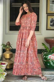 Picture of Light Coral Color Muslin Long Kurti
