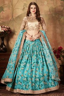 Picture of Blue and Beige Color Organza Lehenga Choli