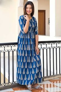 Picture of Blue Colored Muslin Long Kurti