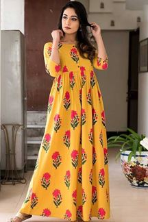 Picture of Golden Yellow Colored Muslin Long Kurti