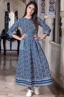 Picture of Steel Blue Colored Muslin Long Kurti