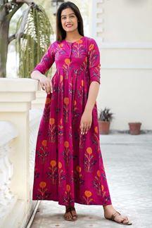 Picture of Designer Partywear Printed Pink Muslin Kurti