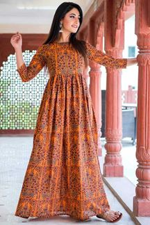 Picture of Designer Partywear Printed Orange Muslin Kurti