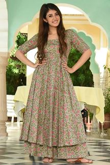 Picture of Party Wear Designer Light Sea Green Maslin Palazzo Suit