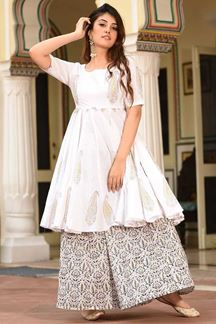 Picture of Party Wear Designer White Maslin Palazzo Suit