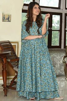 Picture of Party Wear Designer Sky Blue Pure Muslin Palazzo Suit