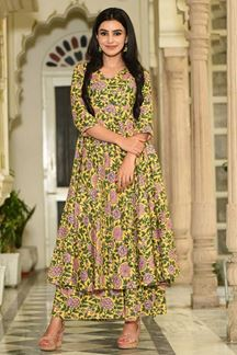 Picture of Party Wear Designer Yellow Muslin Palazzo Suit