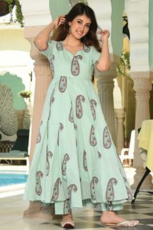 Picture of Party Wear Designer Powder Green Pure Maslin Plazzo Suit