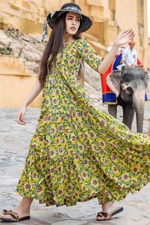 Picture of Designer Party wear Printed Yellow Muslin Kurti