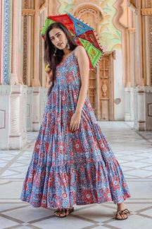 Picture of Designer Party wear Printed Blue Muslin Kurti