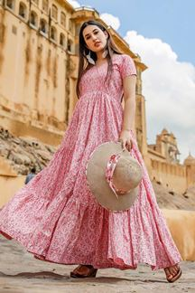 Picture of Designer Party wear Printed Pink Muslin kurti
