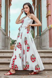 Picture of Designer Party wear Printed White Muslin Kurti