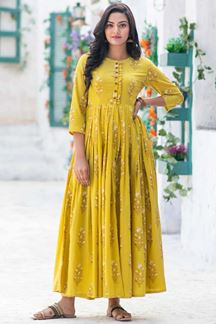 Picture of Party wear Designer Digital Printed Lemon Yellow Kurti