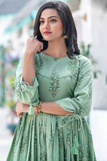 Picture of Party wear Designer Digital Printed Moss Green Kurti