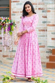 Picture of Party wear Designer Digital Printed Light Pink Kurti