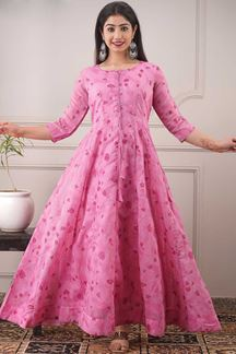 Picture of Partywear Designer Foil Print Pink Kurti