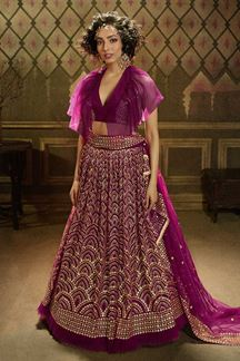 Picture of Gorgeous Wine Colored Lehenga Choli
