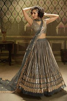 Picture of Desirable Grey Colored Lehenga Choli