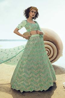 Picture of Shimmery Green Colored Lehenga Choli