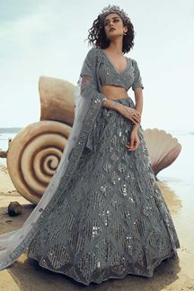 Picture of Stunning Grey Colored Partywear Embroidered Net Lehenga Choli
