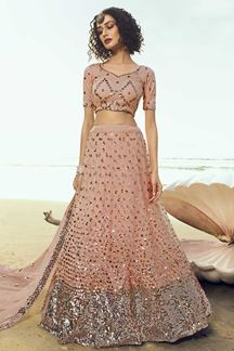 Picture of Elegant Peach Colored Partywear Embroidered Net Lehenga Choli