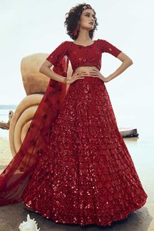 Picture of Demanding Red Colored Partywear Embroidered Net Lehenga Choli