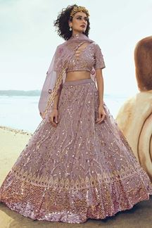 Picture of Stunning Lilac Colored Partywear Embroidered Net Lehenga Choli