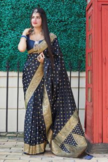Picture of Exotic Blue Colored Designer Saree