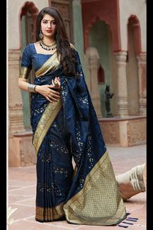 Picture of Pache Women's Navy Blue Colored Festive Wear Banarasi Silk Saree
