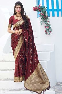 Picture of Graceful Maroon Colored Festive Wear Banarasi Silk Saree