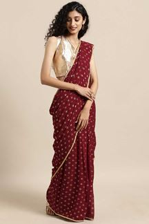 Picture of Stunning Looking Maroon Colored Designer Saree