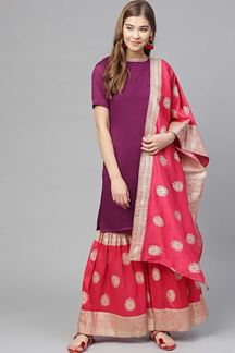 Picture of Designer Purple Colored Readymade Suit