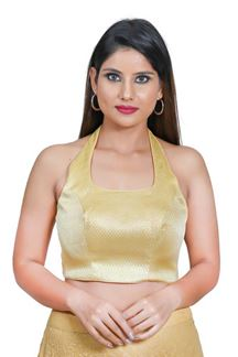 Picture of Magnified Gold Colored Half sleeves Blouse