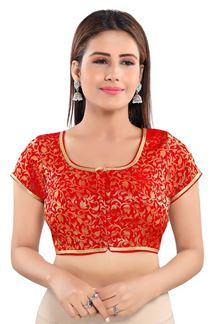 Picture of Vibrant Red Colored Half sleeves Readymade Blouse