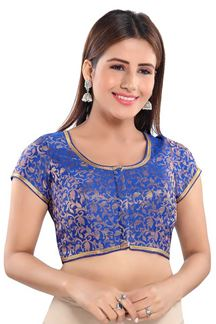 Picture of Regal Navy Blue Colored Half sleeves Readymade Blouse