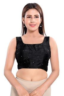 Picture of Mesmeric Black Colored sleeves Readymade Blouse