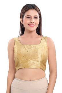 Picture of Astonish Gold Colored sleeves Readymade Blouse