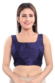 Picture of Navy Blue Colored Readymade Blouse