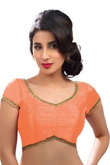 Picture of Vibrant Peach Colored Readymade Blouse