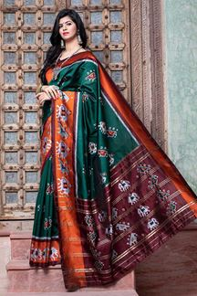 Picture of Majesty Green Colored Designer Printed Saree