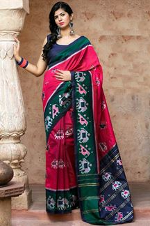 Picture of Dazzling Pink Colored Designer Printed Saree