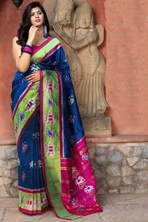 Picture of Gorgeous Blue Colored Designer Printed Saree