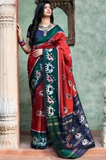 Picture of Glamming Red Colored Designer Printed Saree