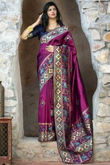 Picture of Dazzling Purple Colored Designer Printed Saree