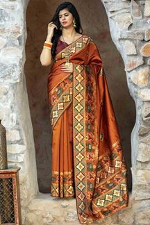 Picture of Ideal Orange Colored Designer Printed Saree
