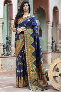 Picture of Lovely Navy Blue Colored Designer Printed Saree