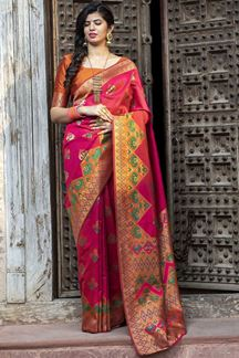 Picture of Majesty Deep Pink Colored Designer Printed Saree