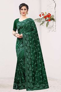 Picture of Composing Bottle Green Colored Designer Saree