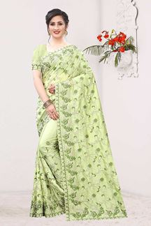 Picture of Charming Pista Green Colored Designer Saree
