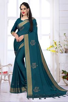 Picture of Rama Green Color silk Satin Wedding Wear Designer Saree